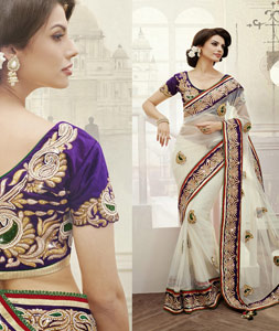 Off White Net Embroidered Wedding Saree  34875