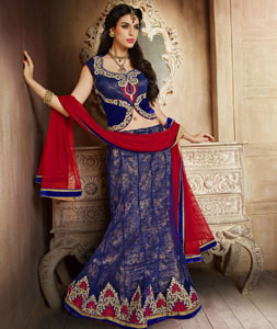 Royal Blue Net Indo Western Lehenga Choli 43145