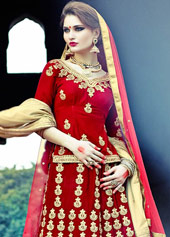 Maroon Velvet Wedding Lehenga Choli 44108
