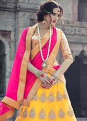 Yellow Net Wedding Lehenga Choli 44110