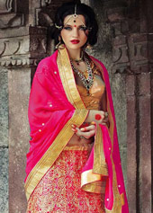 Pink Net Wedding Lehenga Choli 44116