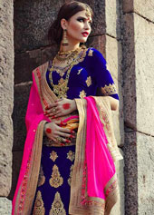 Royal Blue Velvet Net Wedding Lehenga Choli 44117