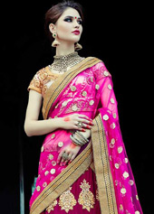 Deep Pink Velvet Wedding Lehenga Choli 44121
