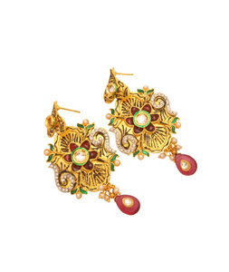 Green and Maroon Meenakari Bead Studded Earrings 27311