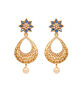 Blue Kundan Enamel Work Earrings  37348