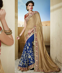 Beige Shimmer Bhagalpuri Silk Wedding Saree 43131
