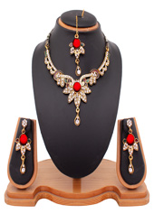 Maroon Alloy Austrian Diamonds Necklace With Earrings and Maangtikka 44000