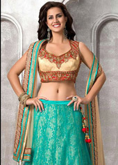 Turquoise Net Designer Wedding Lehenga Choli 43081